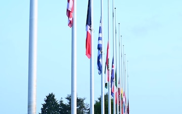 Allied flags at half-mast at SHAPE in commemoration of the 9/11 terrorist attacks