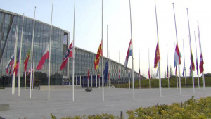 Allied flags at half-mast at NATO HQ in commemoration of the 9/11 terrorist attacks