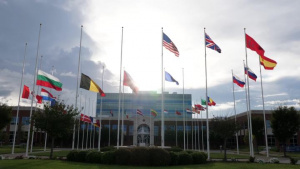 Allied flags at half-mast at ACT in commemoration of the 9/11 terrorist attacks