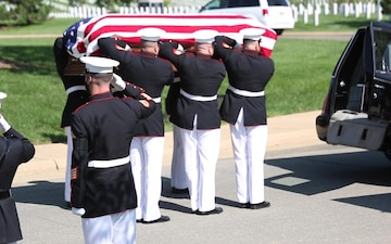 Barracks Marines lay repatriated WWII Marine Pfc. Harry Morrissey to rest at Arlington National Cemetery (B-Roll)