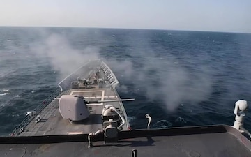 USS Princeton live fire exercise in the Arabian Gulf