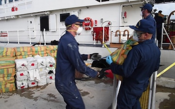 Coast Guard offloads $48 million in cocaine, disembarks 6 suspected smugglers in Puerto Rico, following 2 interdictions in the Caribbean Sea
