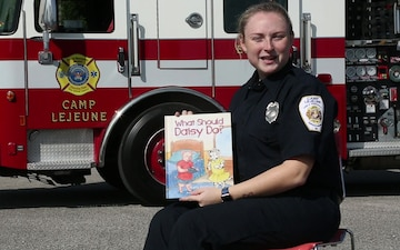 Story time: Camp Lejeune firefighter records reading of fire safety story for DoDEA students on MCB Camp Lejeune & MCAS New River