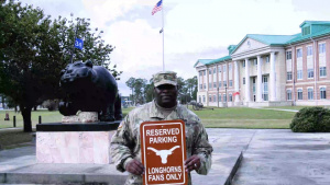 3rd Infantry Division soldier shout-out to the Texas Longhorns