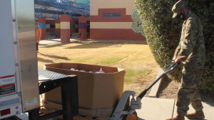 Arizona National Guard delivers food to Summit View Elementary School, Tucson, Ariz. for local residents to pick up.