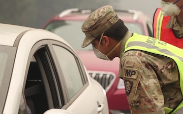 Oregon National Guard assist with wildfires at a traffic control point