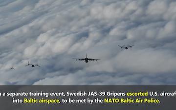 Swedish Gripens escort U.S. aircraft through Swedish airspace to Estonia
