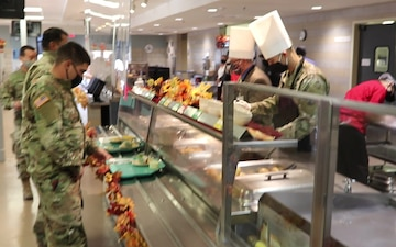 Fort McCoy 2020 Thanksgiving Meal serving at Noncommissioned Officer Academy Dining Facility, Part I