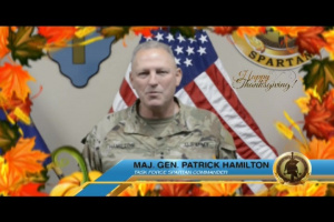 MG Patrick Hamilton sends thanksgiving shoutout to Task Force Spartan families and soldiers
