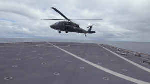 JTF-Bravo performs deck landing qualifications on USS Comstock (LSD 45)