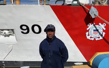 A U.S. Coast Guard member from Coast Guard Cutter Northland sends a holiday message for the 2020 Armed Forces Bowl
