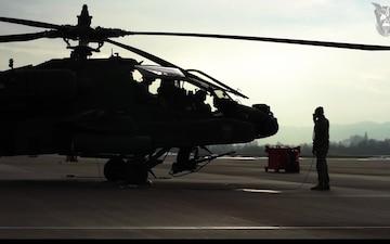 Apache crew chief takes the controls