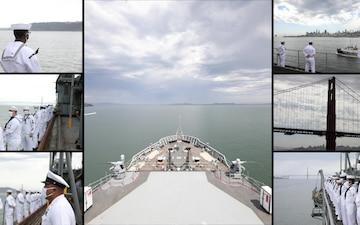 USS Emory S. Land Transits San Francisco Bay