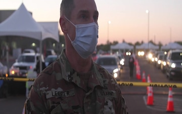 Arizona National Guard State Surgeon, Colonel Tom Leeper speaks about Arizona National Guard service members training volunteer-retired medical professionals to support a vaccination site.