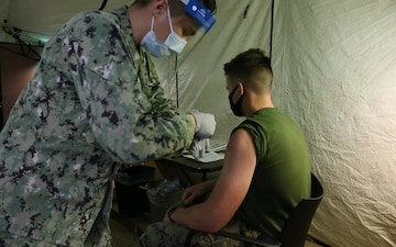 Marines and Sailors with 3d Marine Division receive the COVID-19 vaccination B-Roll
