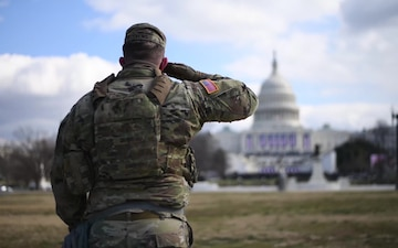 U.S. Soldiers and Airmen with the National Guard provide security in and around the U.S. Capitol building