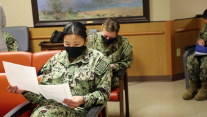 Navy and Air Force medical personnel in-process at Hendrick Medical Center for COVID-19 support B-roll