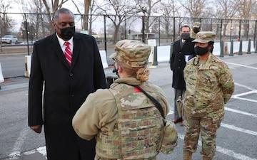 U.S. Secretary of Defense Visits National Guard Personnel at Capitol
