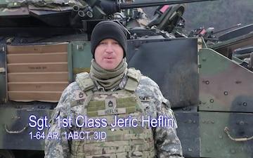 Super Bowl shoutout from Sgt. First Class Heflin