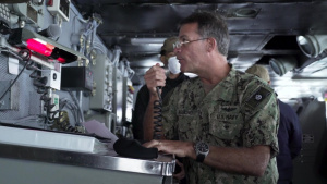 Adm. John Aquilino, commander, U.S. Pacific Fleet Speaks with USS Carl Vinson Crew