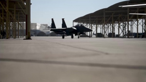 Strike Eagles conduct combat turns at Al Dhafra Air Base - B-Roll