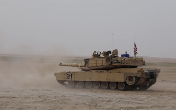 B-Roll of NAVCENT CMDR fires from M1A2 Abrams