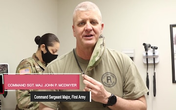 The Command Sergeant Major of First Army, Command Sgt. Maj. John P. McDwyer, Recieves the Second Vaccine