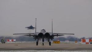 F-15E Strike Eagles conduct routine flying ops at RAF Lakenheath