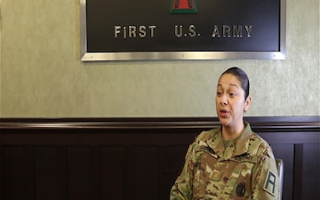 MAJ Guerra, of First Army, Gives an Interview for Womens' History Month