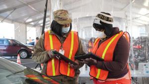 B-roll video of GEMA and Georgia National Guard COVID-19 vaccination operation in Atlanta, Georgia
