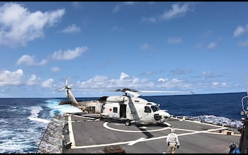 USS John S. McCain conducts flight quarters with JMSDF during BAWT 2021