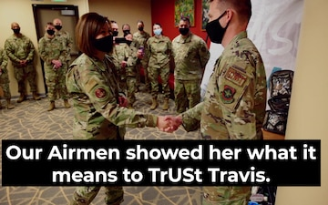 Chief Master Sergeant of the Air Force JoAnne S. Bass Visits Travis AFB
