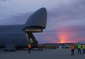 B-Roll: SBIRS GEO-5 off-loading from the C-5M Super Galaxy