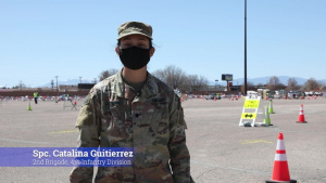 U.S. Army Soldiers from 2nd Brigade, 4th Infantry Division invite the Pueblo community to get vaccinated