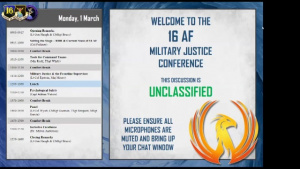 The 16th Air Force Military Justice Conference, Part 1