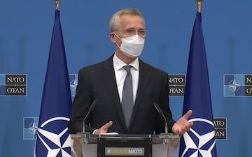 Secretary Blinken holds a press availability with Defense Secretary Lloyd Austin and NATO Secretary-General Jens Stoltenberg, in Brussels, Belgium