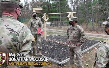 Maj. Gen. Jonathan Woodson discusses about leadership to participants of the AR-MEDCOM 2021 Best Warrior Competition