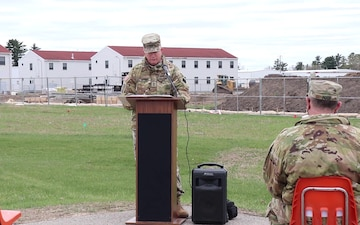 Fort McCoy senior commander, 88th RD commanding general, provides remarks during barracks project ground-breaking ceremony