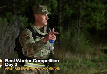 Command Sgt. Maj. Robert Boudnik speaks to Soldiers at the AR-MEDCOM Best Warrior Competition 2021