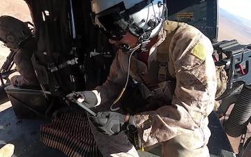 Marines provide close air support with UH-1Y Venom helicopters (B-Roll)