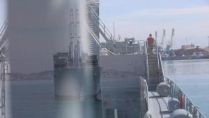 The United States Naval Ship Bob Hope Anchors