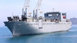 B-Roll United States Naval Ship Bob Hope Anchored