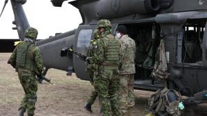 B-Roll Estonian Defense League participate in Blackhawk Cold Load training
