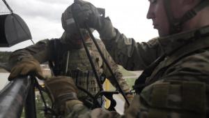 Navy EOD Technicians Train on Rappel Tower