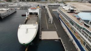 Hurst Point docks in port authority Zadar, Croatia drone b-roll