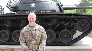 U.S. Army Central Master Sergeant Mentes from Hackettstown, NJ, gives a shoutout to his mom