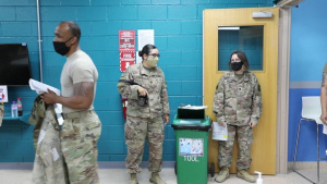 Deployed personnel at Camp Arifjan receive COVID-19 vaccine (B-ROLL)