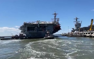 USS John C. Stennis transits to Newport News Shipyard