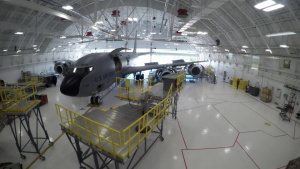 Maintainers Install Aircraft Work Stands