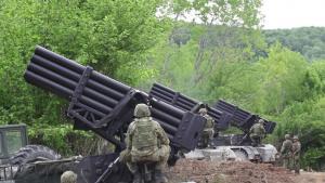Croatian artillery units fire artillery